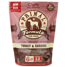 Primal Frozen Turkey and Sardine Dog Food